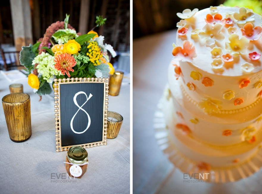 Wedding centerpiece and wedding cake at White Rocks Inn, Wallingford, Vermont