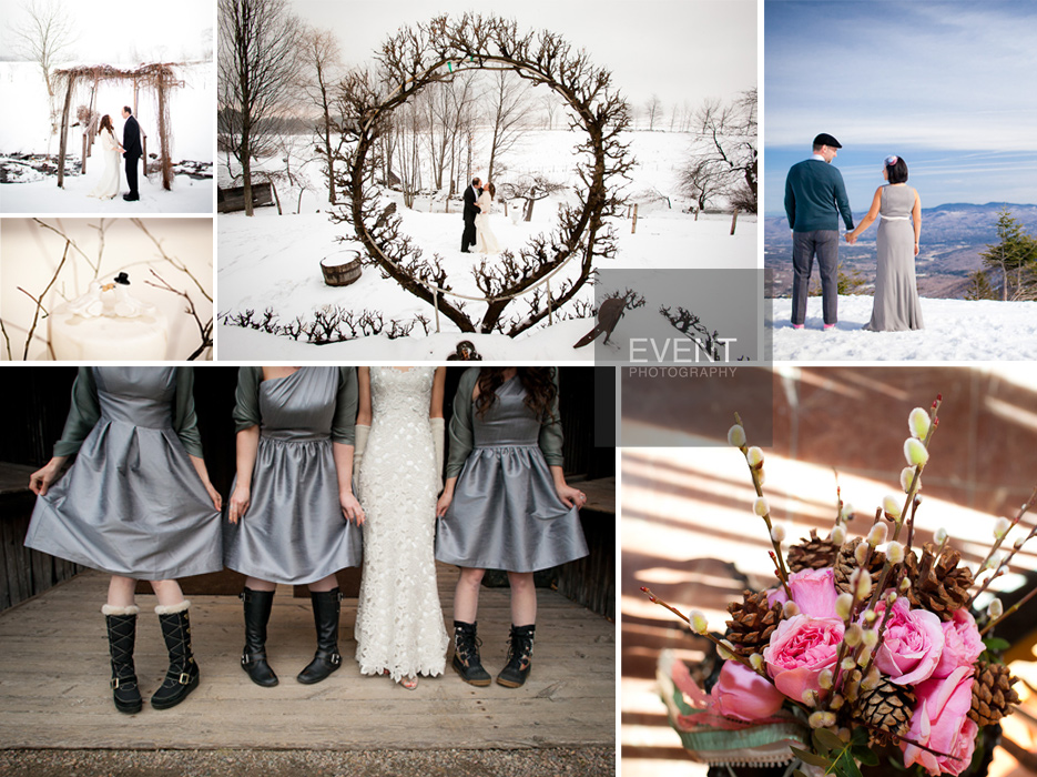 Vermont Winter Weddings by Vermont Wedding photographers at Eve Event Photography