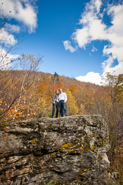 Emily & Dan foliage/fall engagement session in Stowe. by Vermont wedding photographers at Eve Event Photography