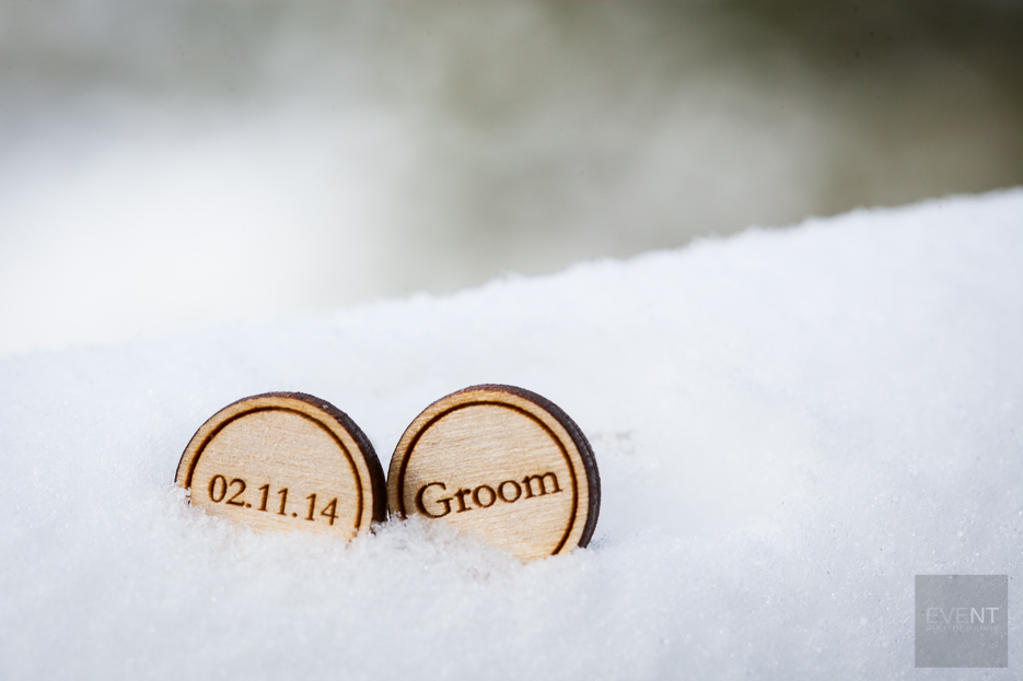 Handmade groom cufflinks at Charlene and Jay